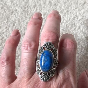 Sterling Silver Lapis Marcasite Ring 11